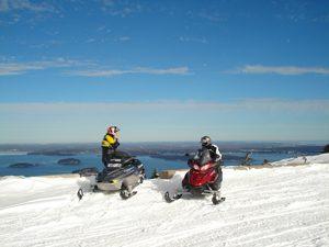 Snowmobiles on Cadillac Mountain