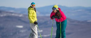 Skiers at the top of a Sunday River trail - Click on the image above to access more Maine winter images.