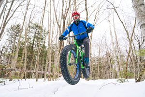 Fat tire biking at Bradbury Mountain State Park, Maine