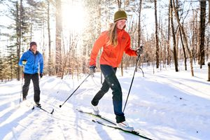 Cross-country skiing at Mt. Blue State Park