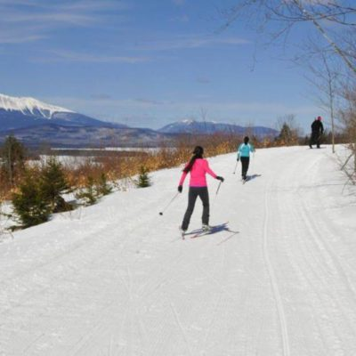 Nordic skiing with a view of Mount Katahdin - click either of the images to access more Maine winter images.